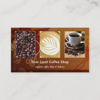 Your 4 photos floral design coffee business card