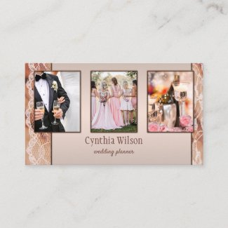 Stylish lace peach photo template business card