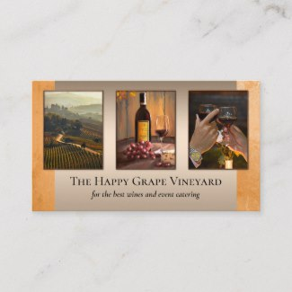 Wine themed personalized photo business card template