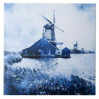 Historic Dutch mill watercolor paintin Delft blue tile