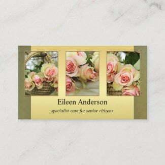 Custom photos senior citizen care or florist business card