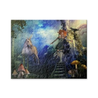 Magical unicorn in an enchanted forest puzzle
