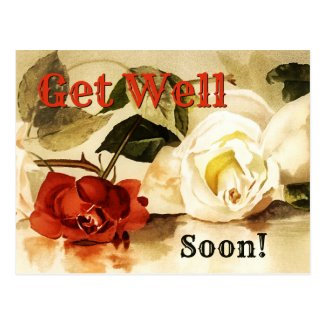 Vintage roses get well soon postcard