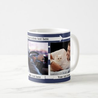 Blue white striped photo mug for men