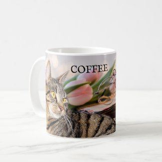Coffee cats and books personalized mug