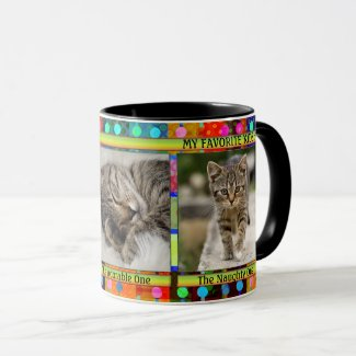 Colorful cat photo mug with funny kittens