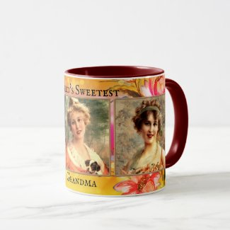 Vintage floral design grandma or mother's day mug