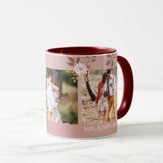 Blush pink floral romantic photo mug