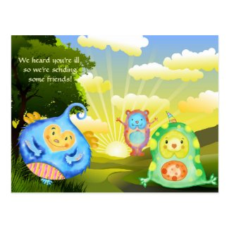Cute friends child get well soon postcard