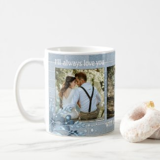 Dusty blue keepsake wedding photo personalized mug