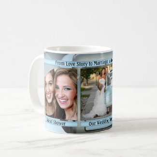 Light blue wedding story board photo grid personalized mug