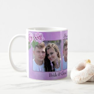 Lilac lavender roses personalized photo save the date mug