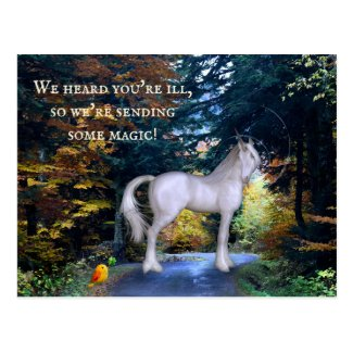 Magical unicorn child get well soon postcard