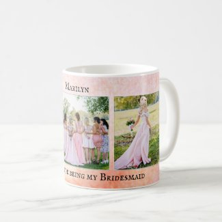 Personalized bridesmaid wedding photo mug