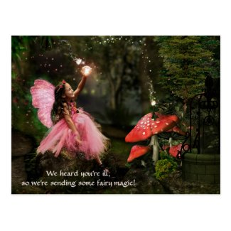 Pink fairy magical girl get well postcard