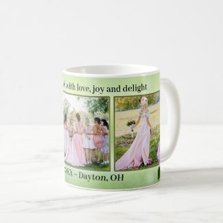 Pink roses on green wedding photo mug