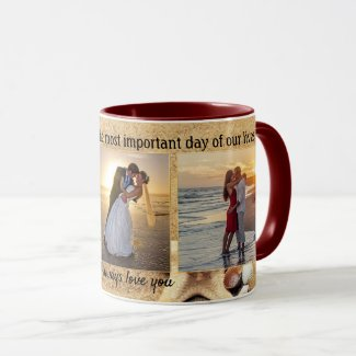 Beach wedding photo keepsake mug