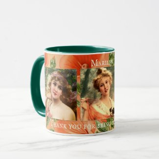 Vintage floral bridesmaid personalized photo mug
