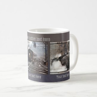 Industrial design steam train vintage photo mug