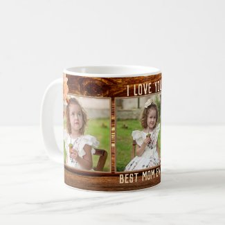 Classic rustic wood with roses personalized photo mug
