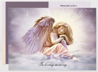 Angel lover funeral or memorial service invitation