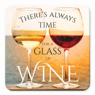 Artistic red and white wine at the beach coaster