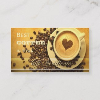 Best coffee in town gift certificate business card