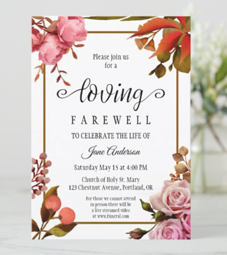 Colorful painted flowers farewell memorial invitation