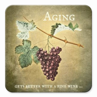 Funny vintage wine coaster with grapes