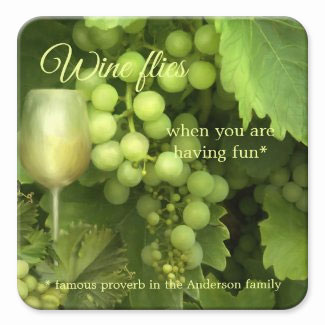 Green white wine vines grapes wine coaster