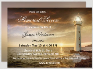 Lighthouse ocean funeral or memorial service invitation
