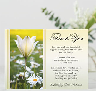 Lily Sympathy Memorial Thank You Card