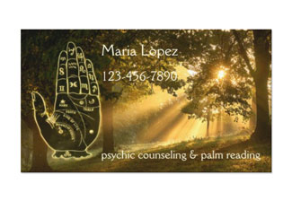 Magical forest palm reader psychic business card