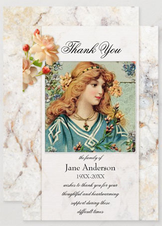 Marble sympathy funeral or celebration of life Thank You photo card