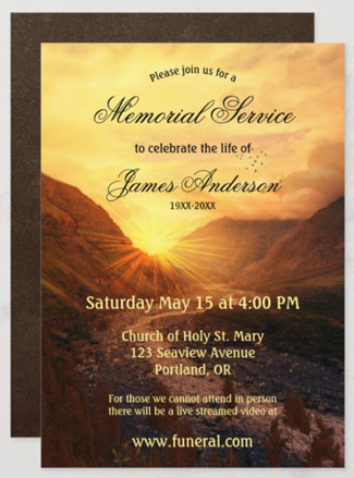Mountain sunset funeral or cremation memorial service invitation