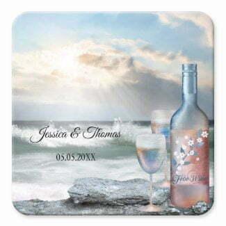 Fine art painted wine on the beach wedding coaster