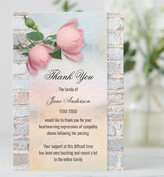 pastel roses sympathy cremation of funeral thank you card