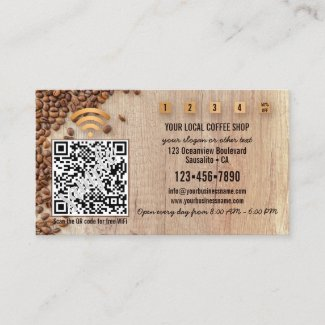 Photo QR code loyalty coffee shop business card template