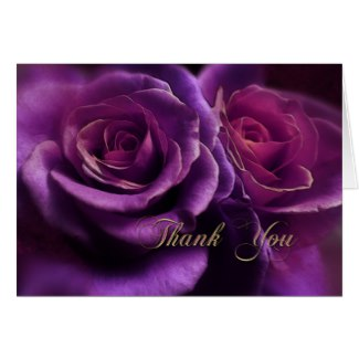 Purple roses sympathy thank you or condolences greeting card