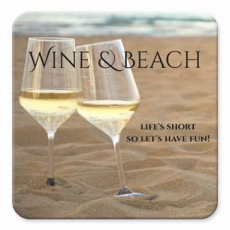 Romantic cheers with white wines at the beach coaster