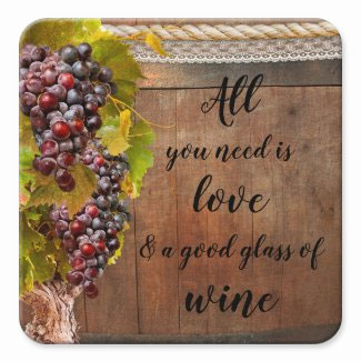 Romantic rustic grapes personalized wine coaster