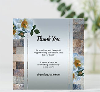 Roses on marble silver sympathy Thank You card