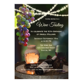 String lights festive wine tasting party invitation