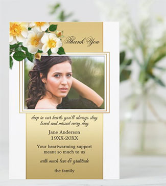 Gold White Roses Photo Sympathy Thank You Card