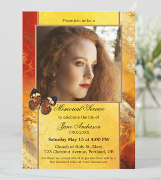 Veined butterfly photo memorial invitation