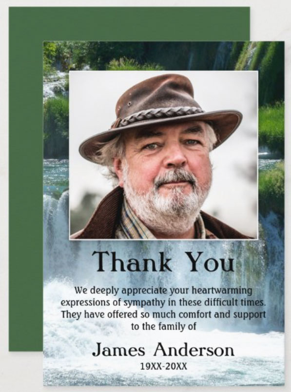 Waterfall sympathy Thank You funeral photo card