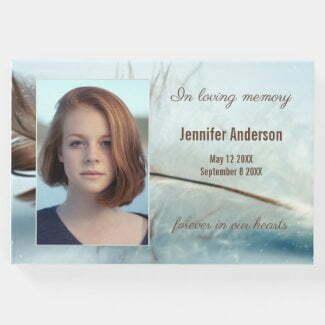 Dream feather photo memorial service guest book