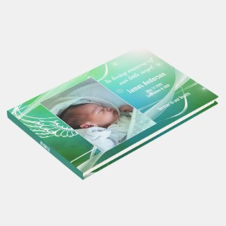 Photo child angel baptism or memorial guest book