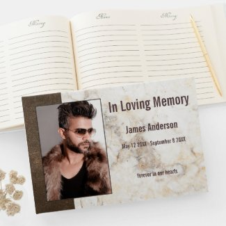 Faux leather marble photo funeral guest book