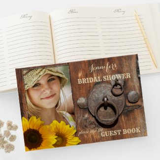 Rustic wood country bridal shower photo guest book